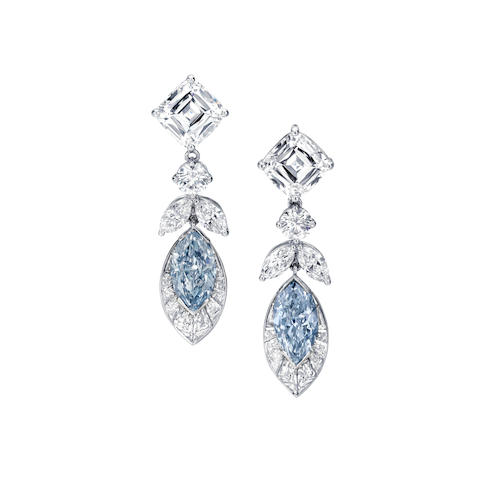 Bonhams Last Auction Of The Year Results In A Nice Twist For Blue Diamond Earrings.
